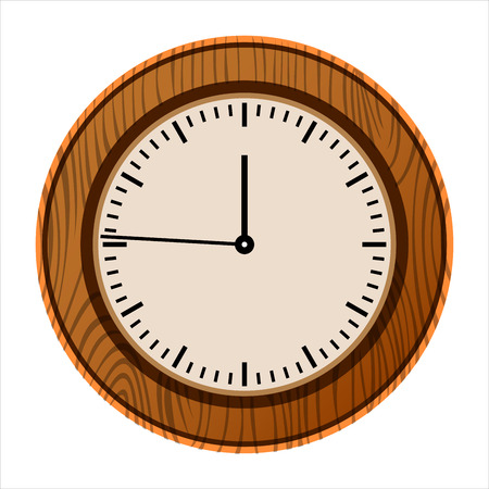 wall clock in wooden case on white background Ilustracja