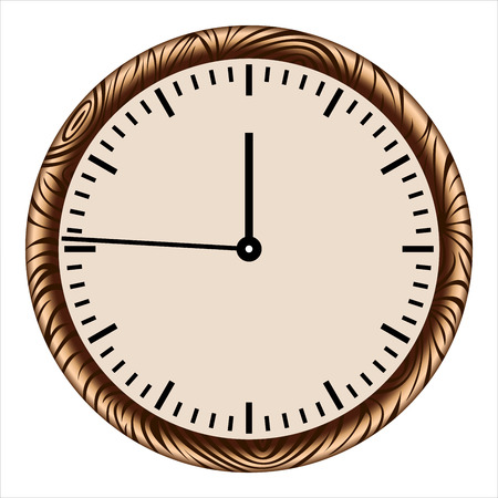 wall clock in wooden case on white background Illustration