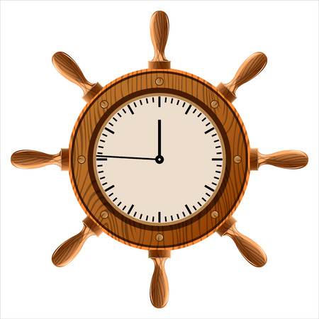 wall clock in the shape of a wheel on a white background Illustration