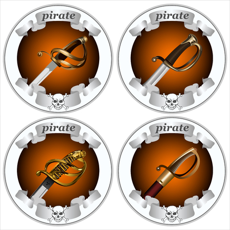 round icons with pirate swords on a white background vector Çizim