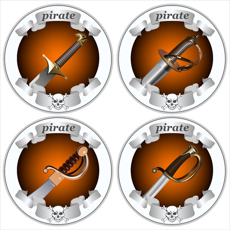 round icons with pirate swords on a white background vector Illustration