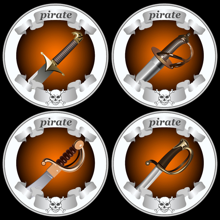 round icons with pirate swords on a black background vector