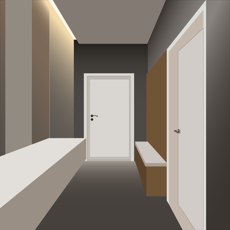 the interior design of the apartment hallway vector