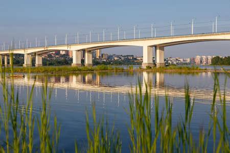 Bridge in Irkutsk city with reflection Stock Photo