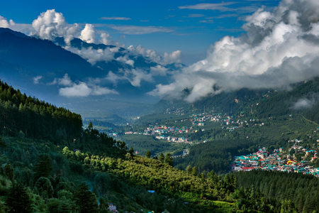 View of Himalayan town with sky Фото со стока