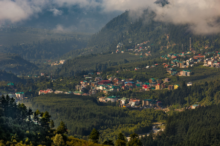 View of mountain town in India