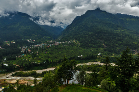 Himalayan town in cloudy weather