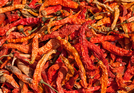 Pile of red dry chili pepper at a market in India