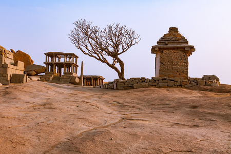 Ancient ruins of Indian temples in Hampi, India