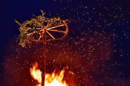 Big fire with symbol of Kupala celebration in Russia