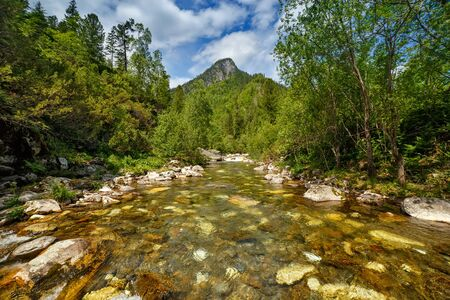 Mountain valley river water flowing with forest and hills around and blue sky with clouds