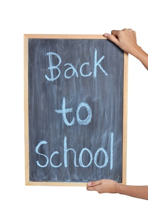 Blackboard with hand writing Back to School, isolated on white