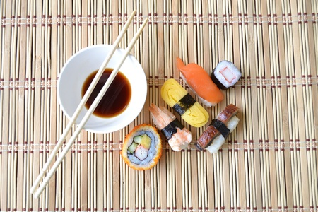 Fresh Sushi on bamboo mat