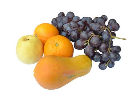 Fresh fruit on white background.