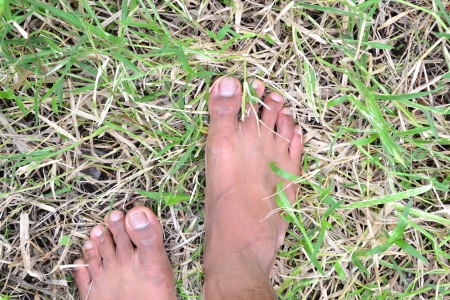 Feet to the ground on the grass.  Stock Photo