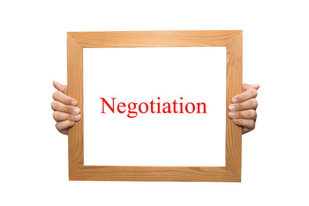 Negotiation on a wooden board photo