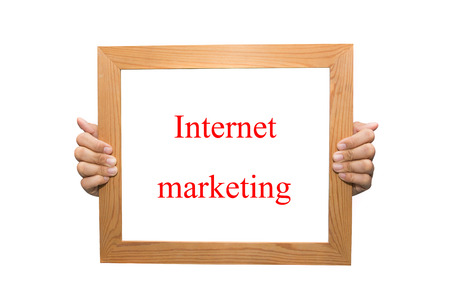 Internet marketing on a wooden board Stock Photo - 26880982
