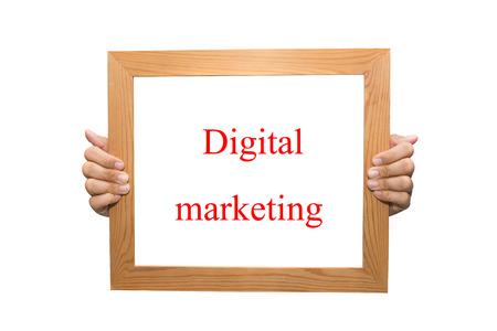 Digital marketing on a wooden board Stock Photo - 26880988