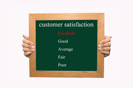 Writing evaluate excellent on customer satisfaction concept  photo