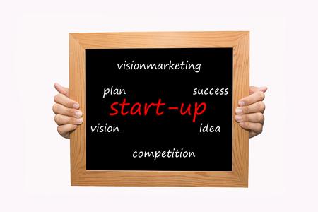 Hand write start-up word concept