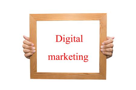 Digital marketing on a wooden board Stock Photo - 26881066