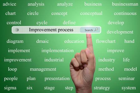 businessman pointing improvement process concept