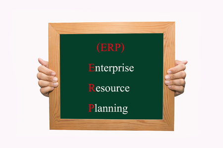 Writing enterprise resource planning (ERP) concept  photo