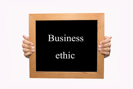 ethic: Hand write Business ethic word concept