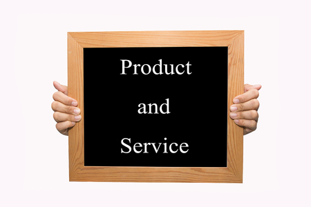 Hand write Product and service word concept photo
