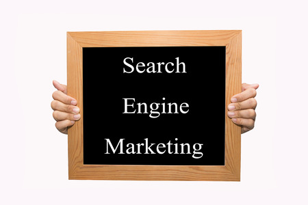 Hand write Search engine marketing word concept photo