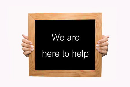 Hand write We are here to help word concept