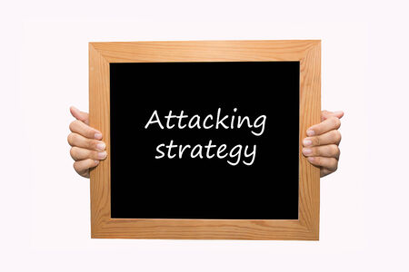 Hand write Attacking strategy word concept photo