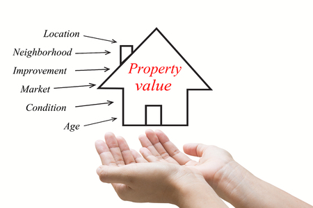 Businessman hand touch Property value  photo