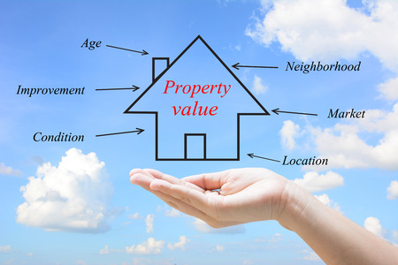 Property value in a hand  Stock Photo
