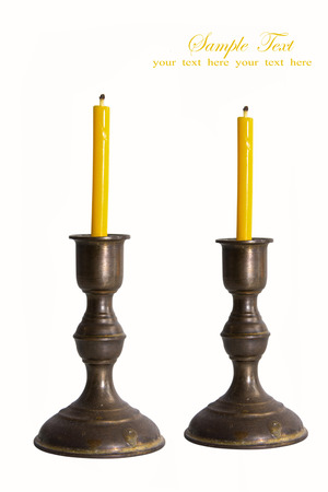 silver plated: old silver plated candlestick isolated on white