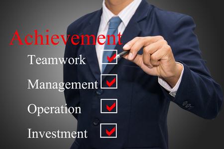 business hand writing achievement concept  Stock Photo