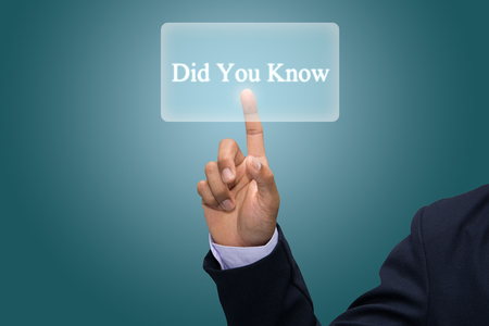 did you know: Businessman hand pointing Did You Know  Stock Photo
