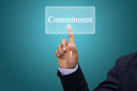 consign: Businessman hand pointing commitment