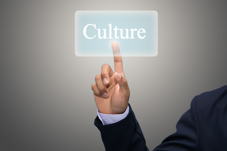 core strategy: Businessman hand pointing Culture