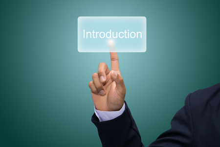 Business man hand pointing Introduction Stock Photo