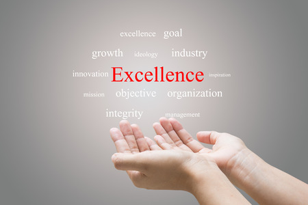 Businessman Hand Showing excellence Word  photo
