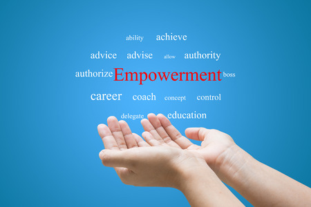 Businessman Hand Showing Empowerment Word