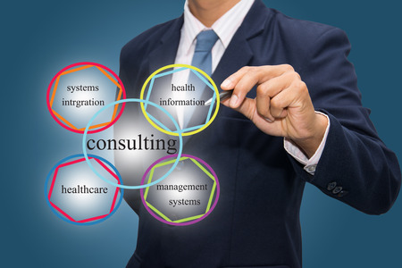 info: Businessman writing Healthcare Consulting Services