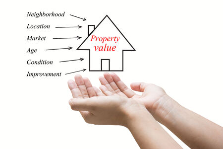Businessman Hand Showing Property value  photo