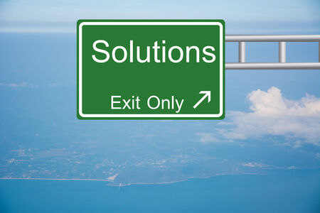 Creative Solutions Exit Only, Road Sign  Stock Photo