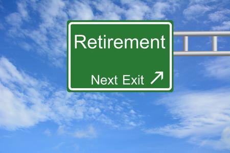 Creative Retirement Exit Only, Road Sign  Standard-Bild