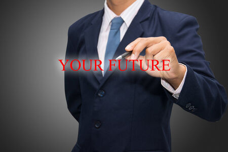 forthcoming: business man writing YOUR FUTURE