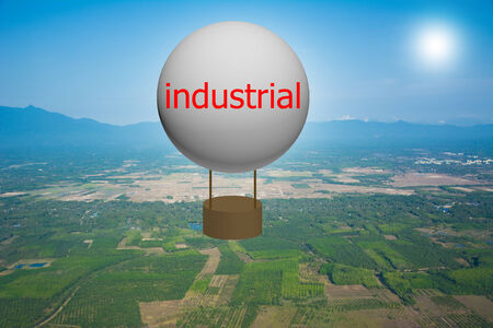 Write a industrial on the balloon. Stock Photo
