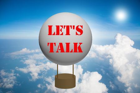 Write a LET'S TALK on the balloon. Standard-Bild