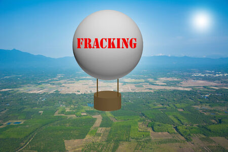 fracturing: Write a FRACKING on the balloon. Stock Photo